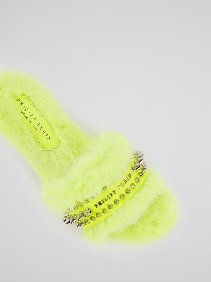 Neon Yellow Spike Studded Fur Slippers