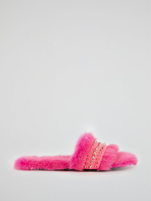Pink Spike Studded Fur Slippers