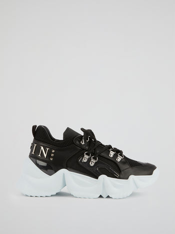 Black Runner Statement Platform Sneakers