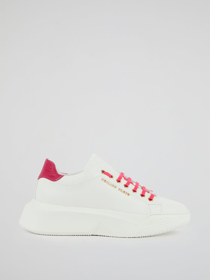 White Crystal Detail Platform Sneakers