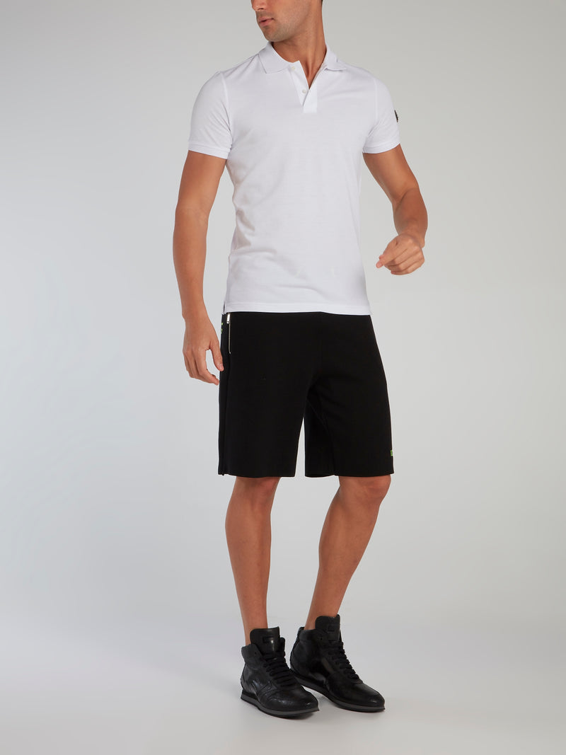 Black Contrast Statement Knitted Shorts
