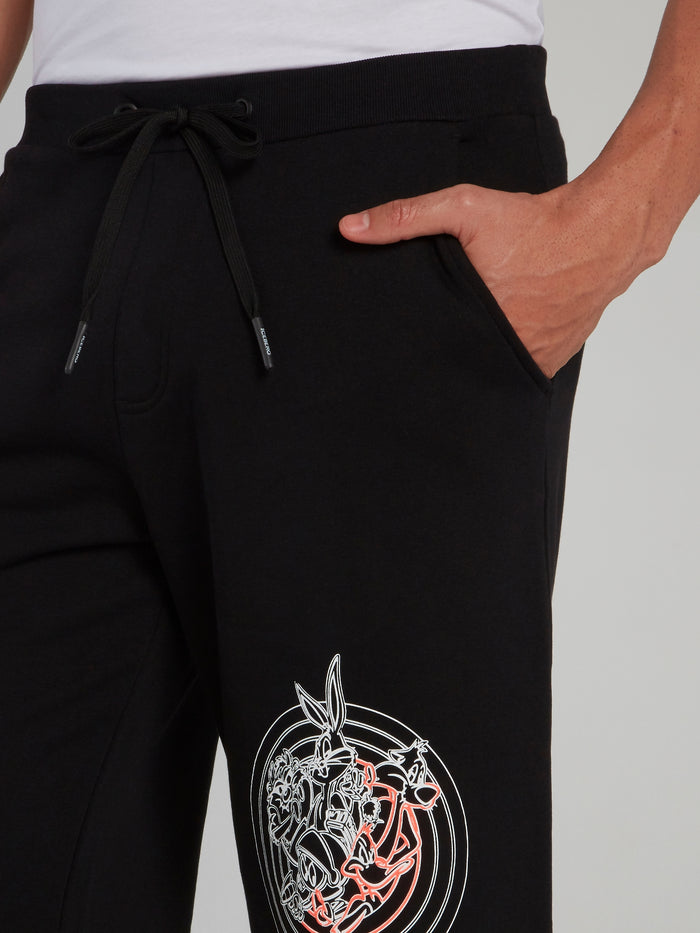Looney Tunes Black Contrast Shorts