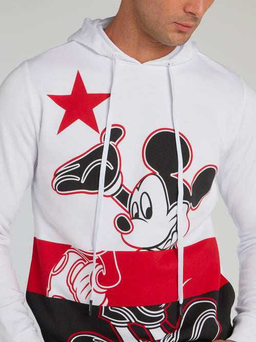 Mickey Mouse White Drawstring Hoodie