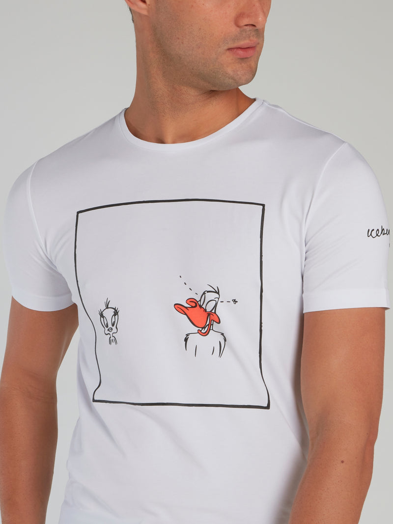 Daffy and Tweety White Printed T-Shirt