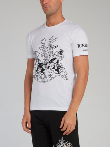Looney Tunes White Contrast Embroidered T-Shirt