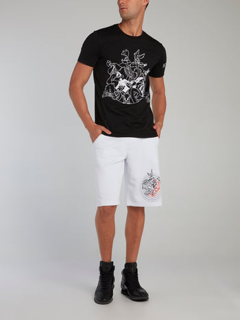 Looney Tunes Black Contrast Embroidered T-Shirt