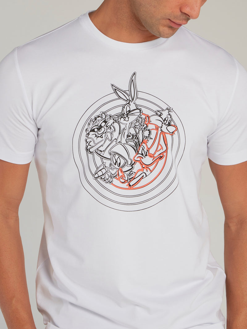 Looney Tunes White Sketch Print T-Shirt