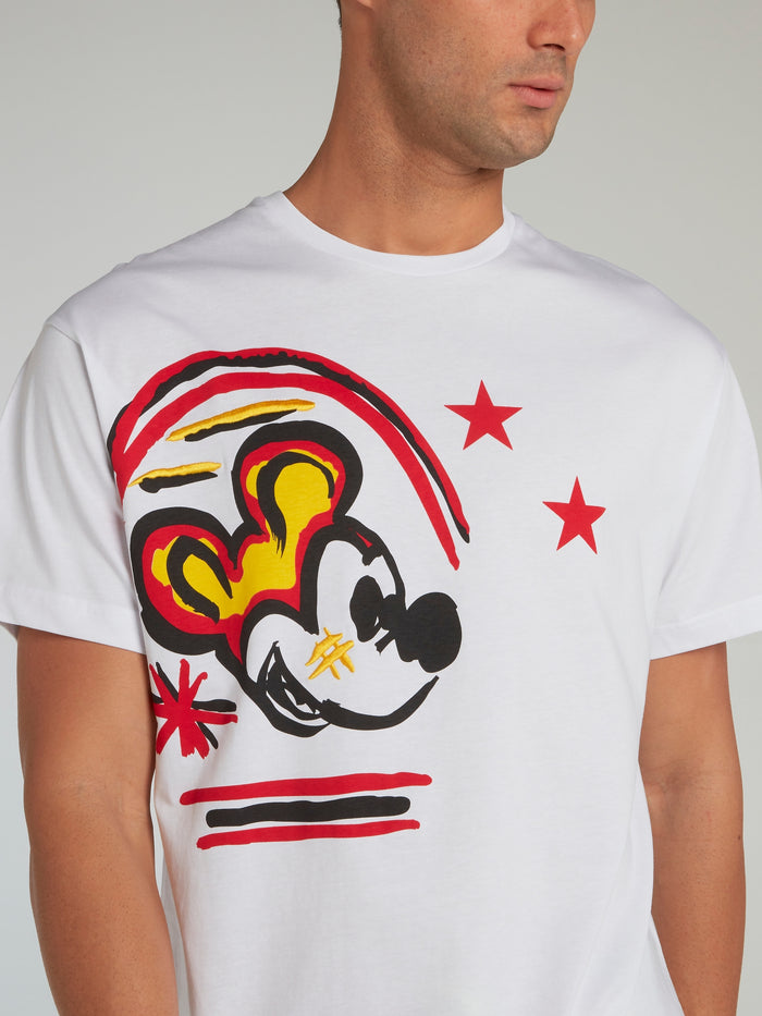 Mickey Mouse White Paint Print T-Shirt