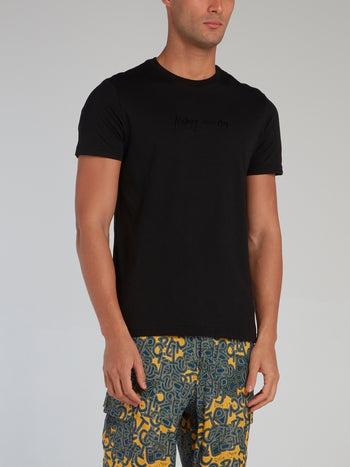 Black Signature Print Cotton T-Shirt