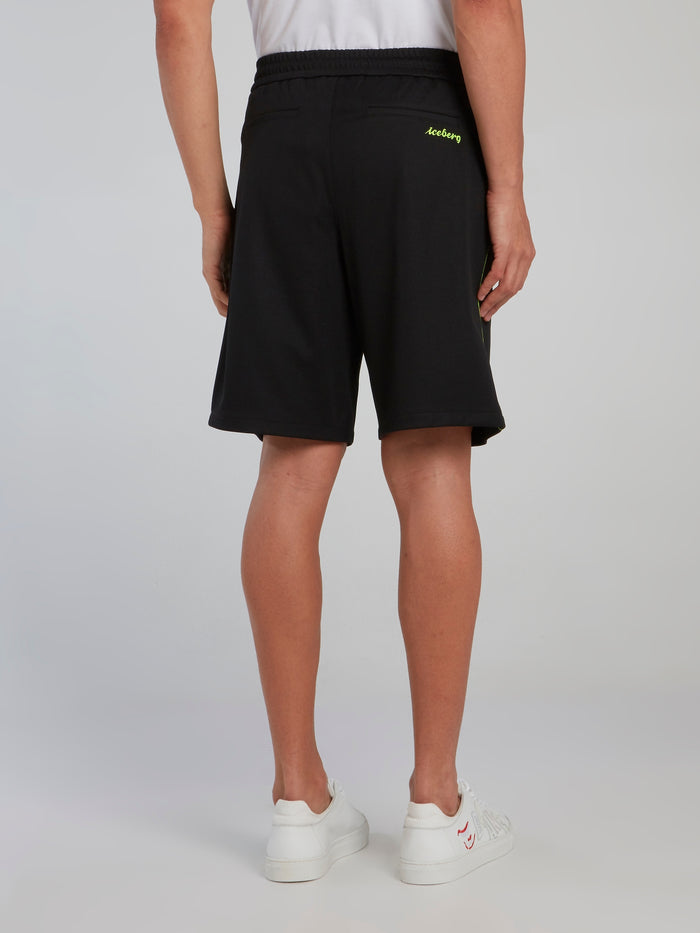 Neon Detail Black Drawstring Shorts