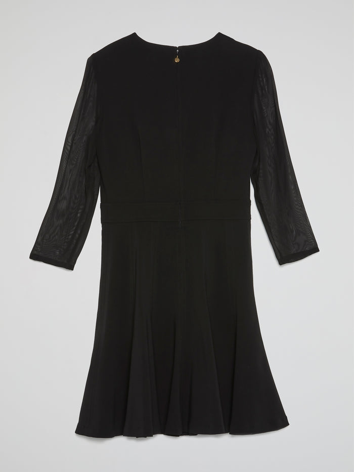Black Quarter-Sleeve Mini Dress