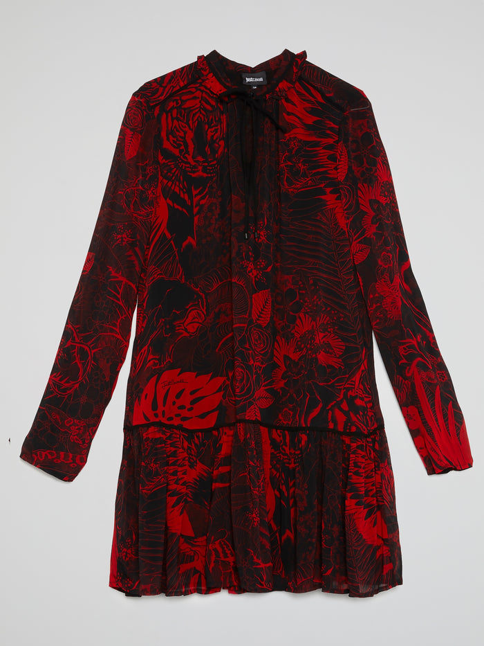 Red Jungle Print Flared Shirt Dress