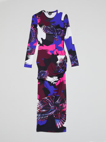 Eagle Print Ruched Maxi Dress