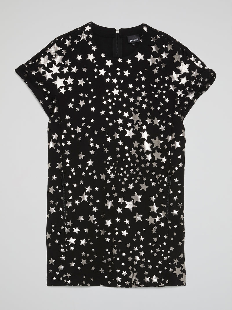Black Star Print T-Shirt Dress