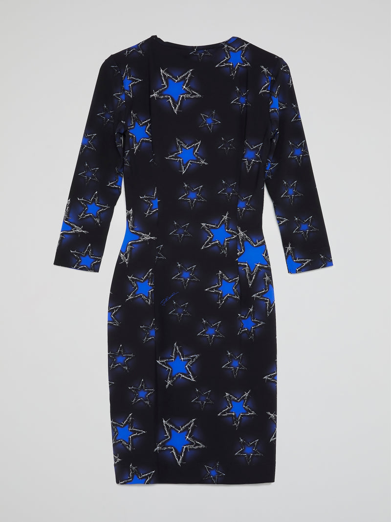 Navy Star Print Scoop Neck Dress