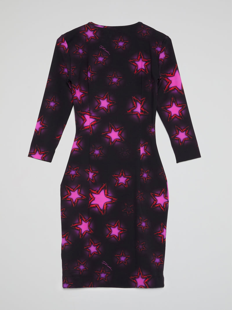 Purple Star Print Scoop Neck Dress