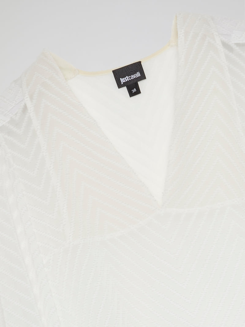 White High-Low Chevron Blouse