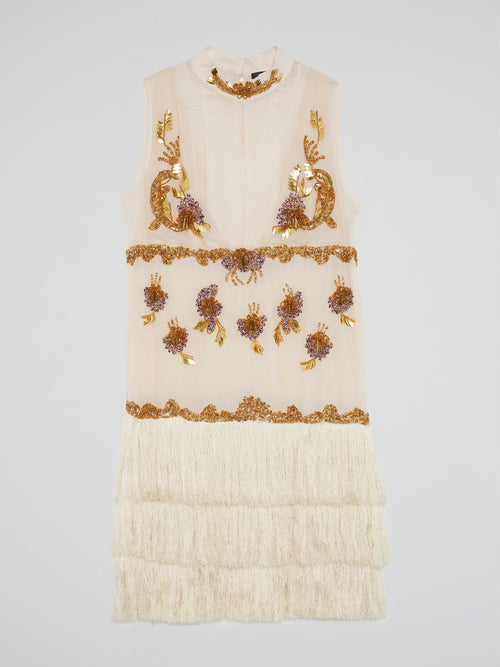 Beaded Tassel Hem Mini Dress