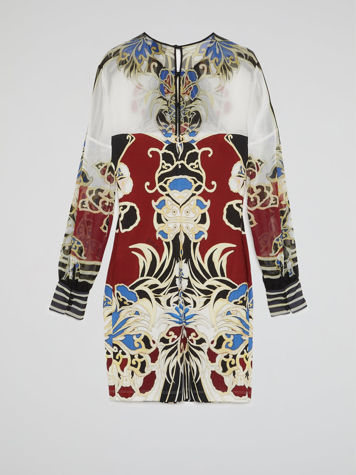 Printed Mesh Long Sleeve Dress