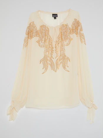 Beige Studded Peasant Blouse