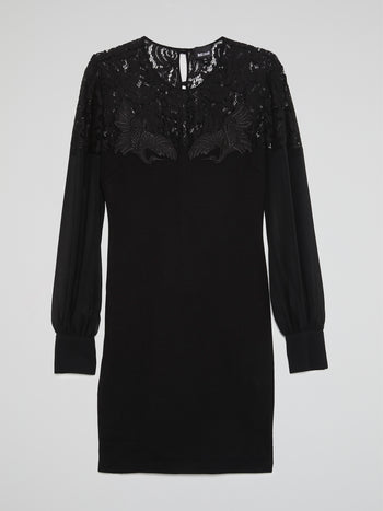 Black Lace Neckline Long Sleeve Dress