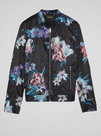 Floral Print Zip Up Jacket