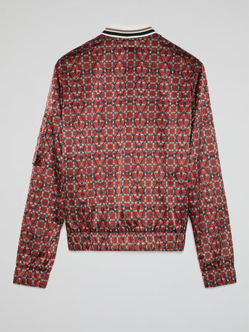Red Jacquard Print Zip Up Jacket