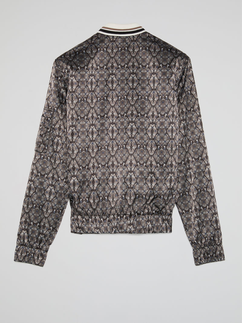 Jacquard Print Zip Up Jacket