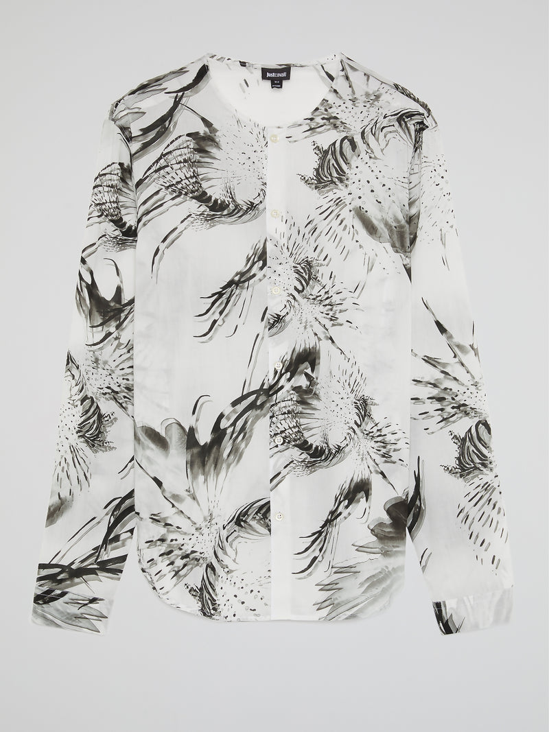 Printed Collarless Long Sleeve Shirt