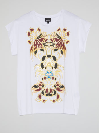 White Printed Cap Sleeve T-Shirt