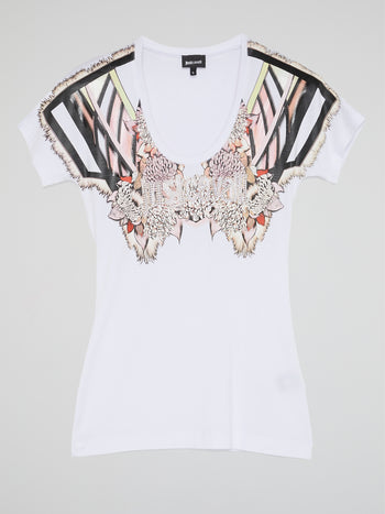 White Printed Scoop Neck T-Shirt