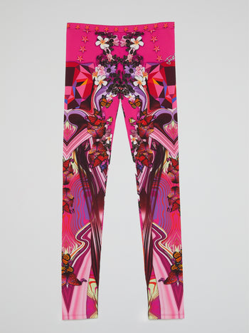 Pink Butterfly Print Leggings