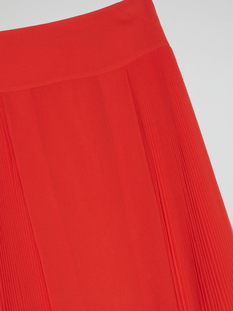 Red Accordion Pleated Skirt