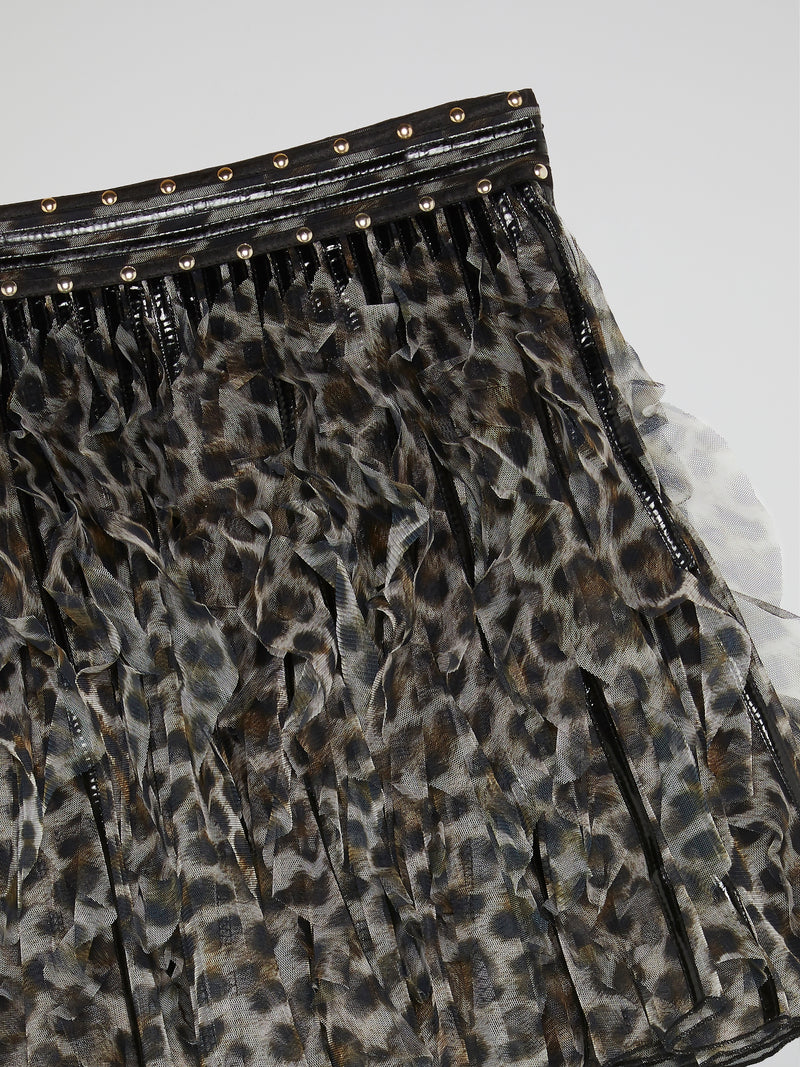 Leopard Print Frill Mini Skirt