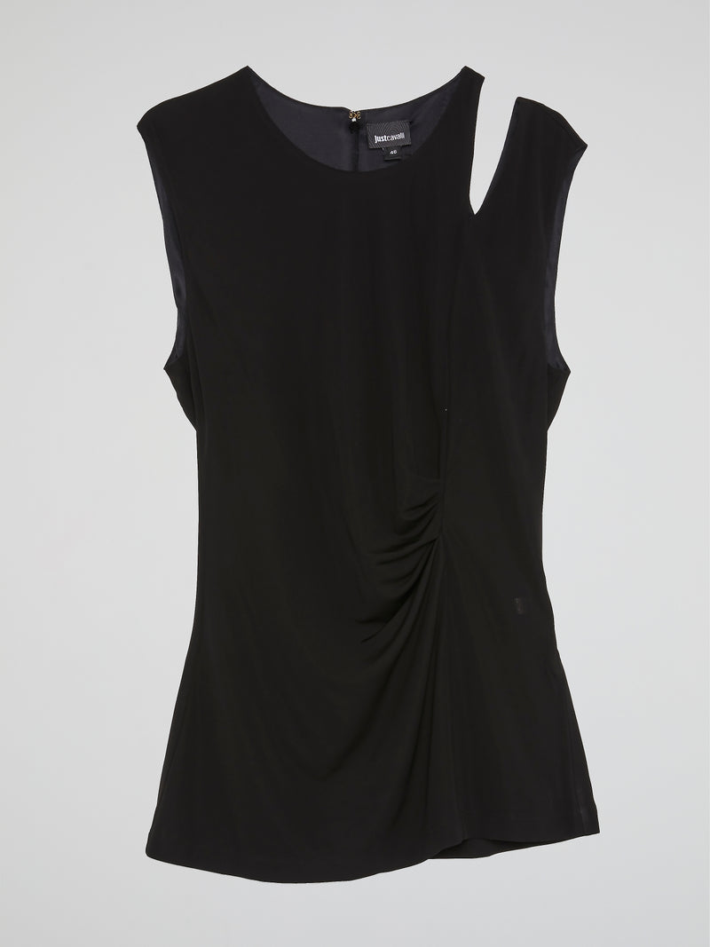 Black Cut Out Ruched Top