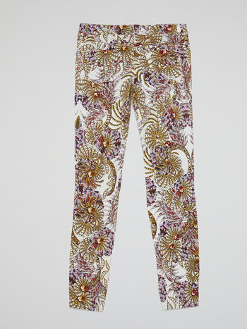 Floral Print Straight Cut Jeans