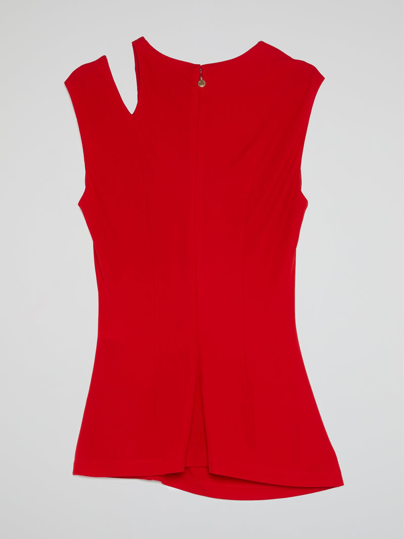 Red Cut Out Ruched Top