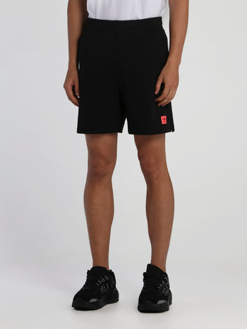 Black Ribbed Waistband Shorts