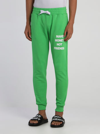 Green Drawstring Logo Sweatpants