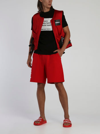 Red Drawstring Logo Shorts