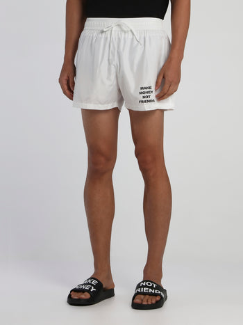 White Drawstring Logo Swim Shorts