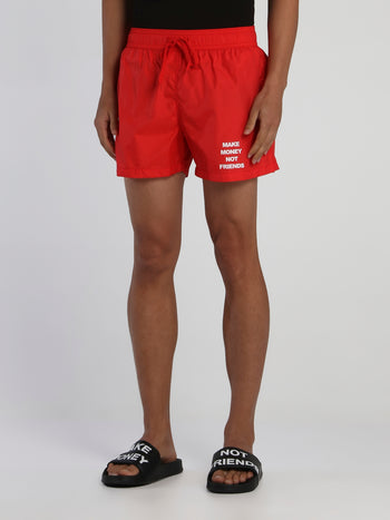 Red Drawstring Logo Swim Shorts
