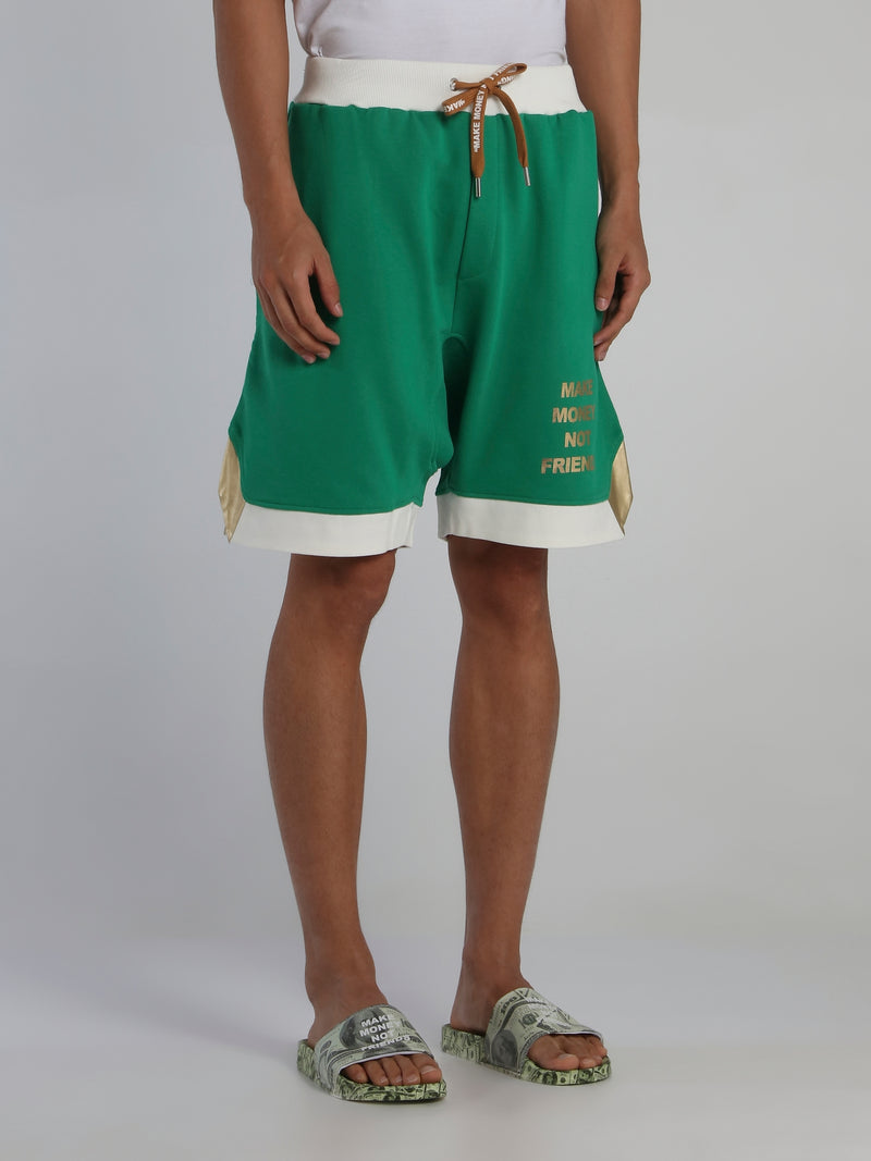 Green Contrast Trim Statement Shorts