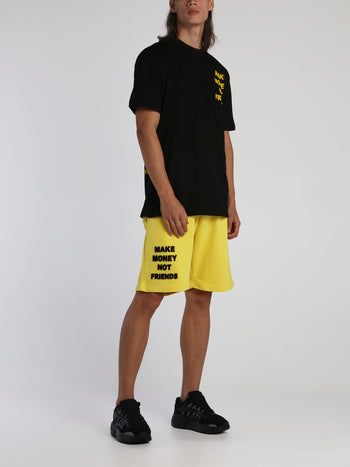 Yellow Drawstring Logo Shorts