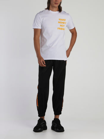 White Contrast Logo Cotton T-Shirt