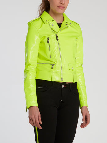 Neon Leather Biker Jacket