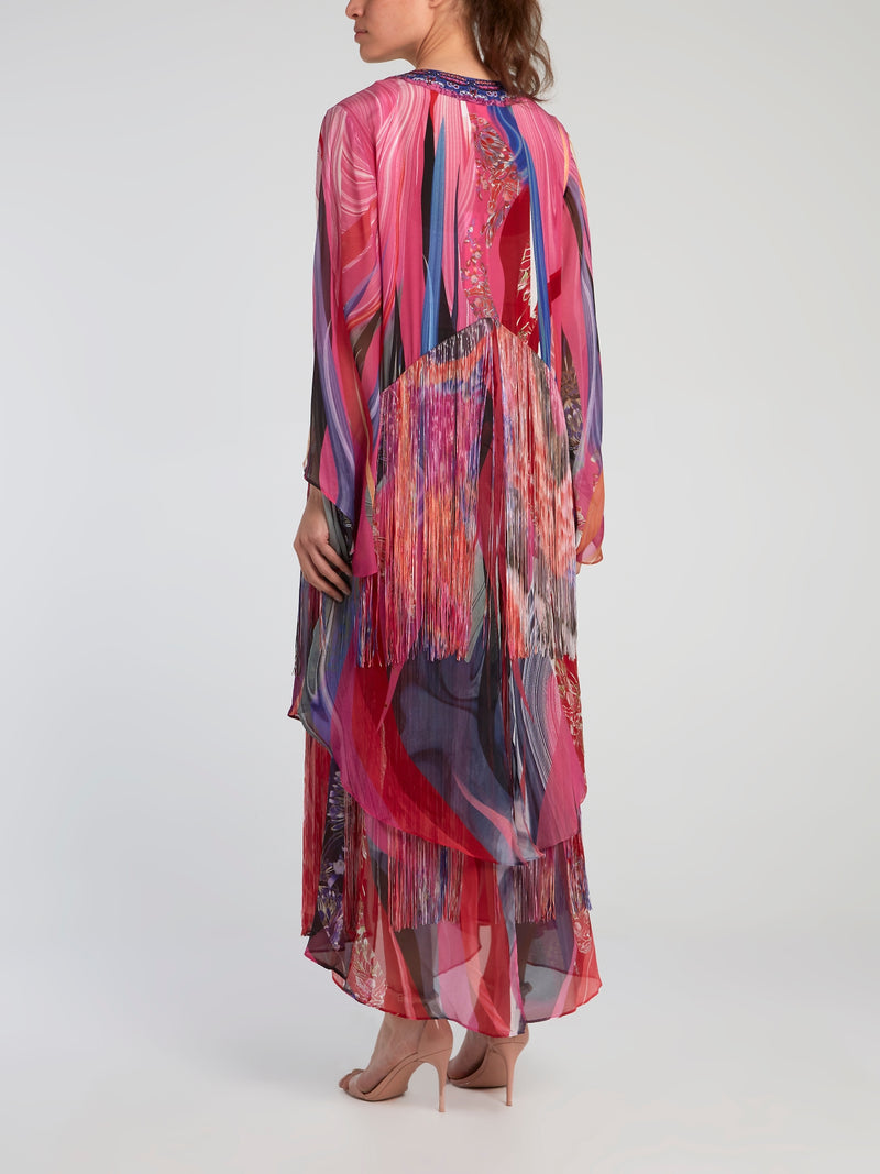 Double Layered Hem Silk Robe