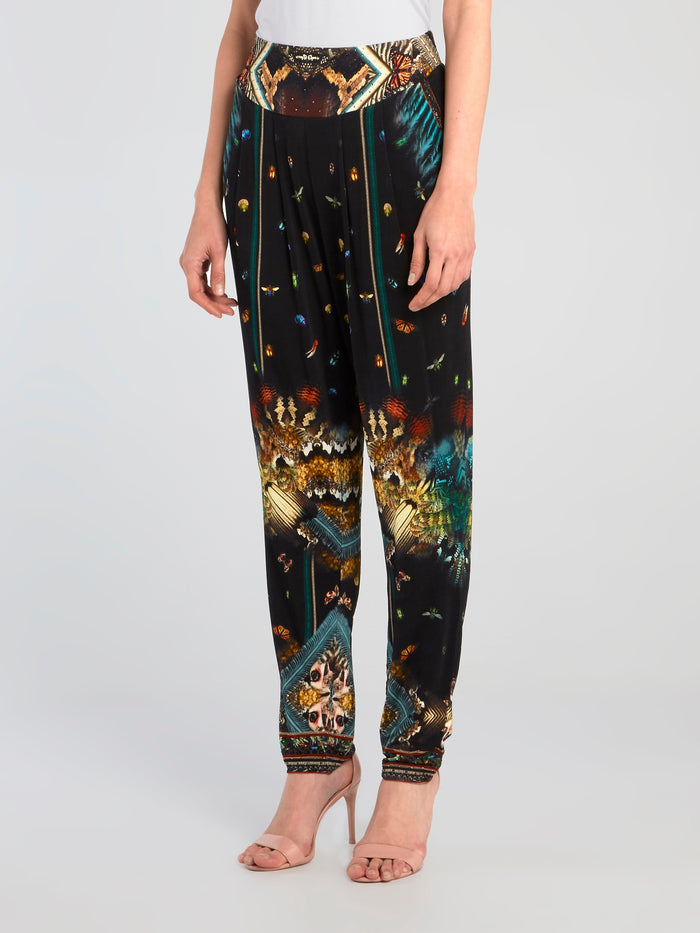 Front Pleated Silk Harem Pants