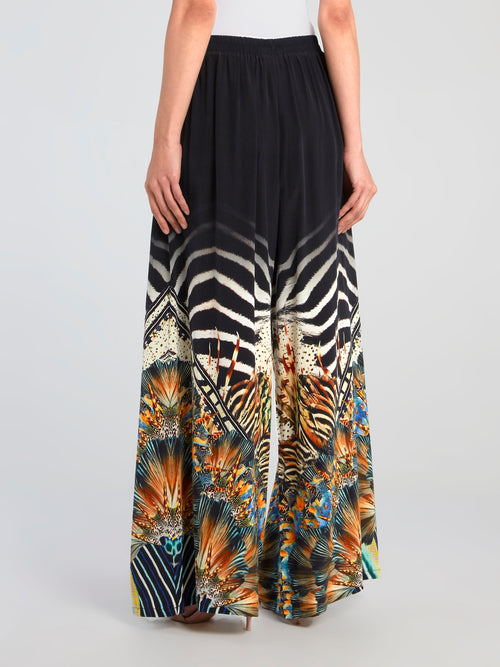 Front Pocket Detail Silk Palazzo Pants