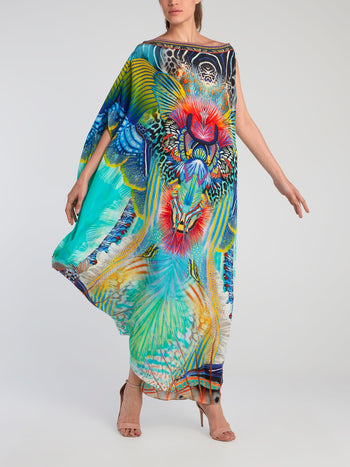 One-Shoulder Silk Kaftan